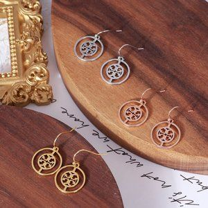 Tory Burch Geometric Circle Cutout Logo Earrings